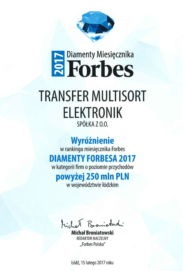 TME wins another Forbes' Diamonds award
