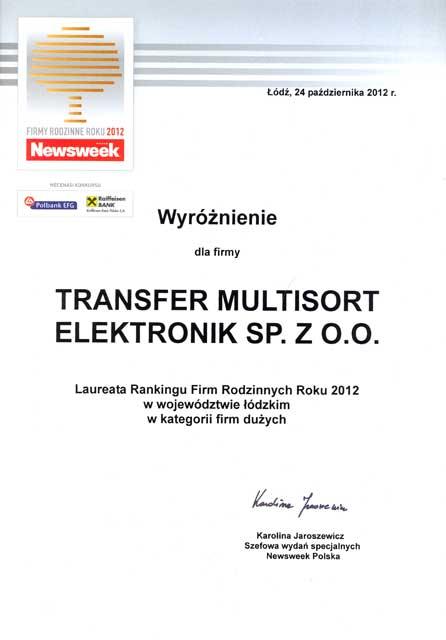 TME laureatem Rankingu Firm Rodzinnych Roku 2012