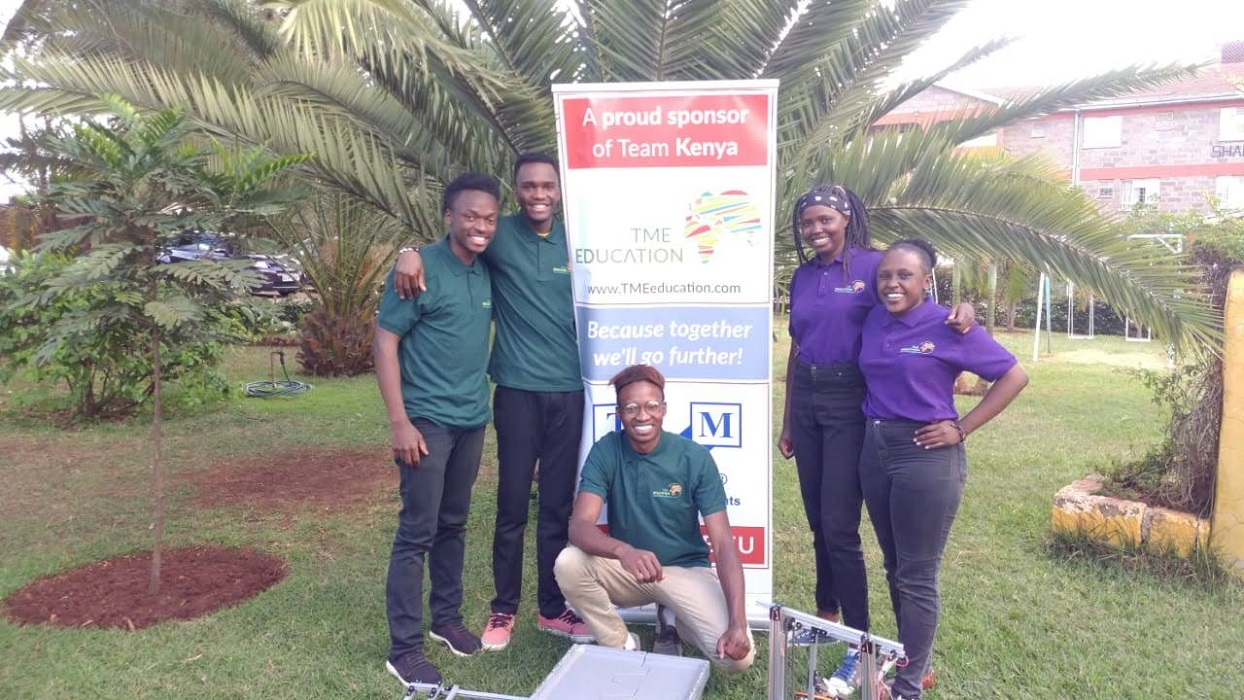 Team Kenya heading to First Global Robotics Challenge with TME Education on their banner.