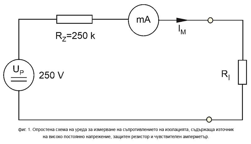 Опростена схема на измервателен уред за съпротивление на изолацията