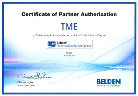 TME preferowanym partnerem dystrybucyjnym firmy BELDEN