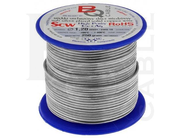 SCW-1.20/250 BQ CABLE, Postriebrený medený drôt