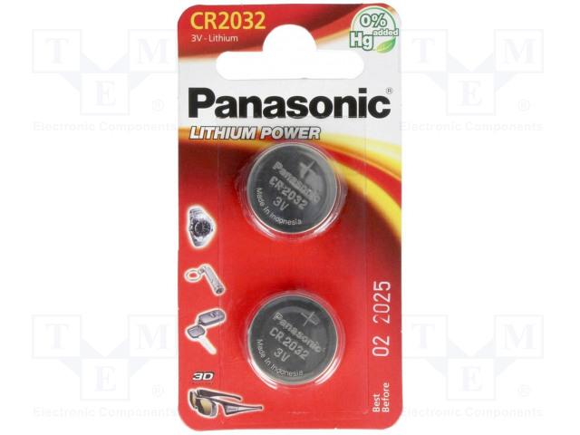 PANASONIC CR2032 B2 - Battery: lithium