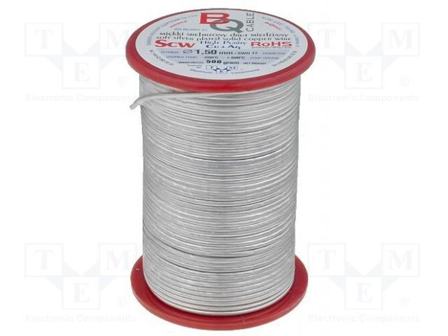 BQ CABLE SCW-1.00/500 - Srebrzony drut miedziany