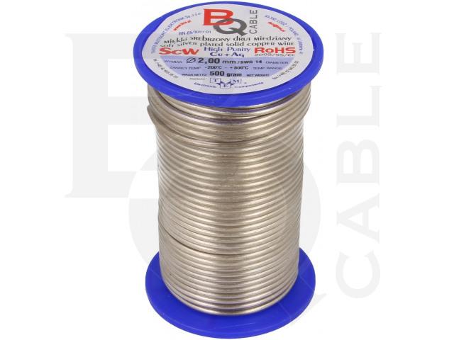 SCW-2.00/500 BQ CABLE, Srebrzony drut miedziany