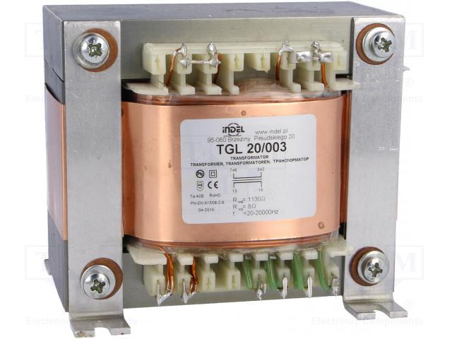 INDEL TGL 20/003 - Transformátor: reproduktorový