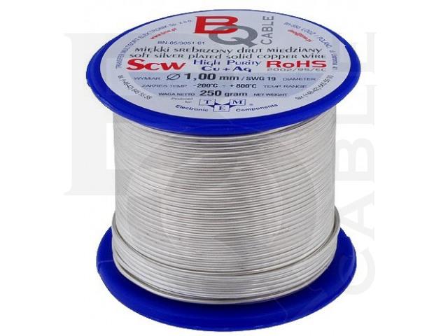 SCW-1.00/250 BQ CABLE, Versilberter Kupferdraht