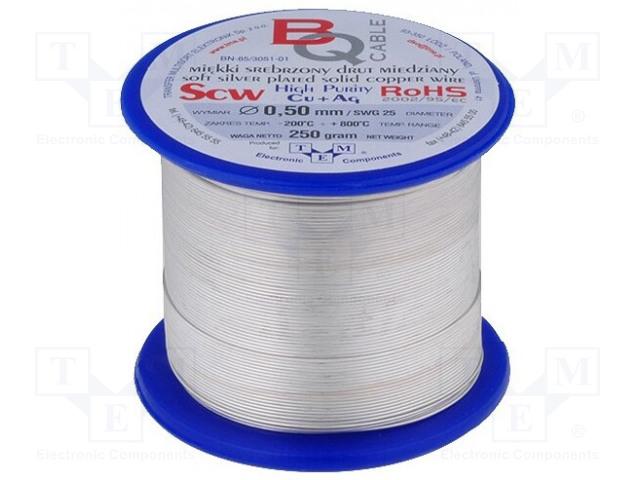 BQ CABLE SCW-1.10/250 - Srebrzony drut miedziany