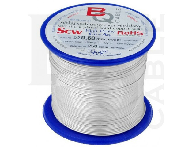SCW-0.60/250 BQ CABLE, Silver plated copper wires