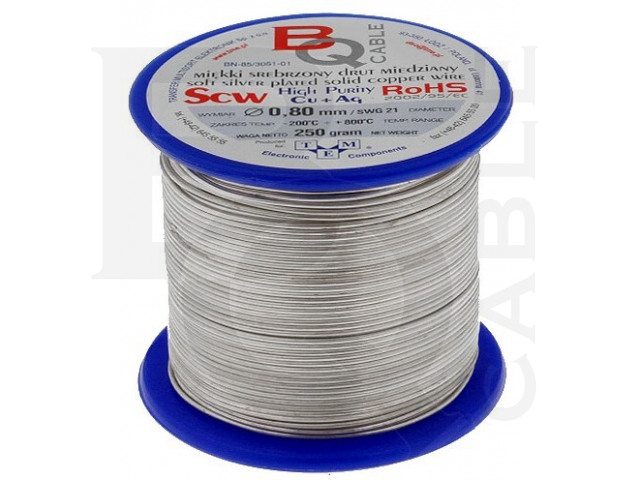 SCW-0.80/250 BQ CABLE, Silver plated copper wires
