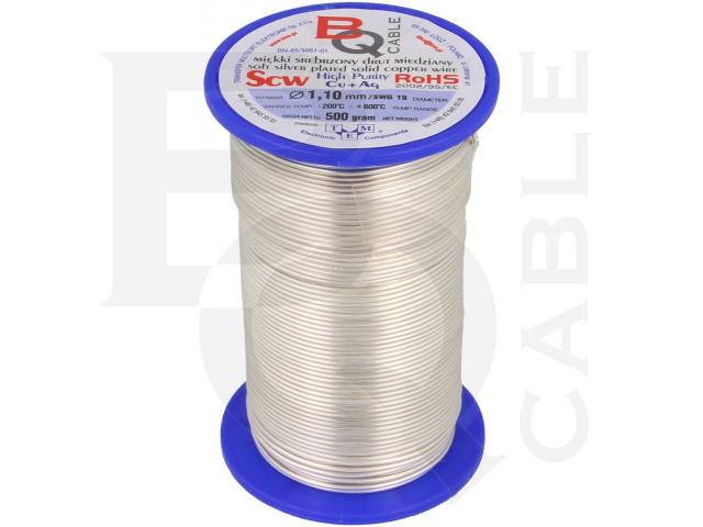 SCW-1.10/500 BQ CABLE, Versilberter Kupferdraht
