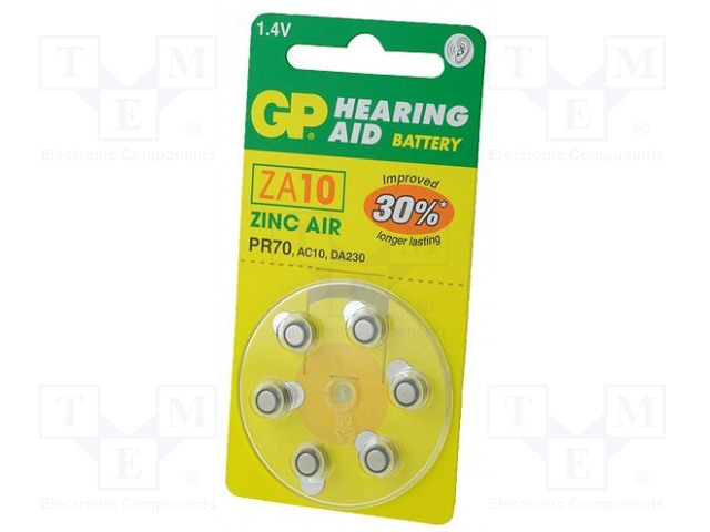 GP ZA10 B6 - Baterie: zinko-vzduchová (ZnO2)