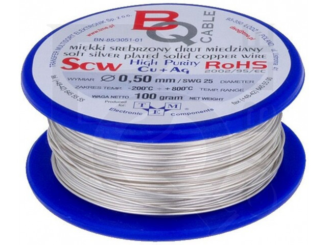 SCW-0.50/100 BQ CABLE, Silver plated copper wires