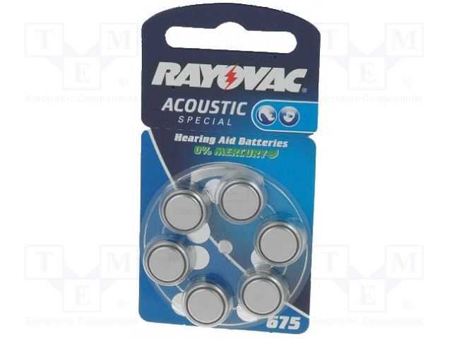 RAYOVAC BAT-HA675 - Baterie: zinko-vzduchová (ZnO2)