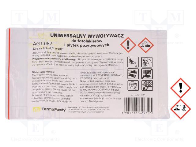 AG TERMOPASTY ART.AGT-087 - Kemiallinen aine: kehite