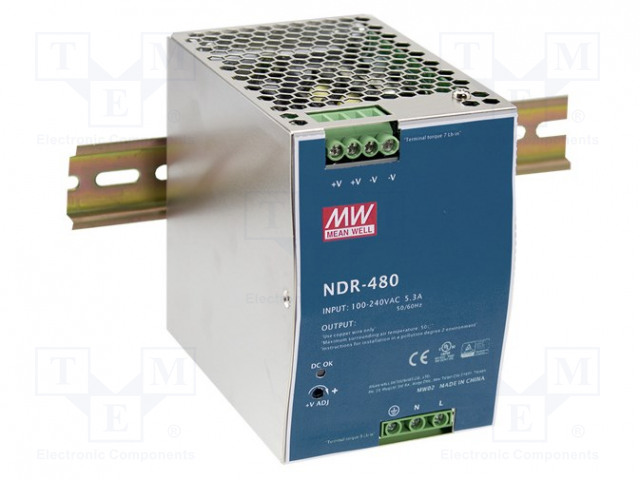 MEAN WELL NDR-480-24 - Power supply: switched-mode