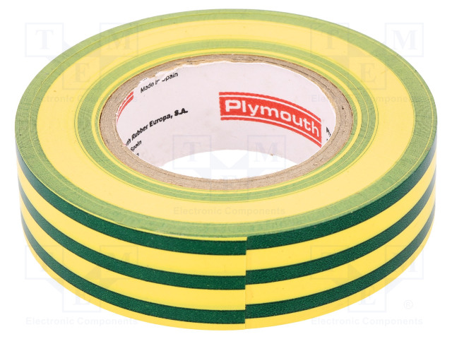 PLYMOUTH N-12 PVC TAPE 19MMX20M Y/G - Tape: electrical insulating