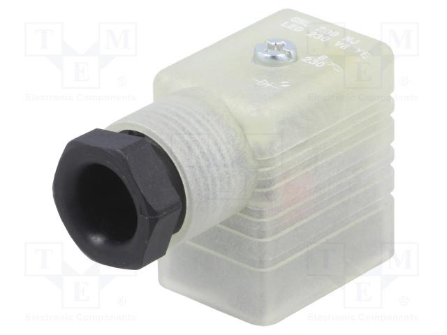 HIRSCHMANN 933932100 GML 209 NJ LED 230 VR YE SCHWA - Konektor: pro ventily