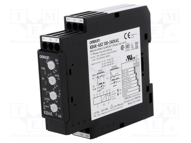 OMRON K8AK-AS2 100-240VAC - Modul: proudové hlídací relé