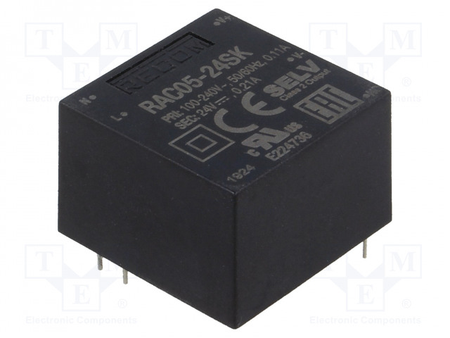 Преобразователи переменного тока в постоянный Преобразователь: AC/DC; 5Вт; Uвых: 24ВDC; Iвых: 210мА; 84%; 3000В Фото 1.