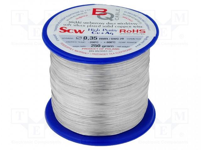 BQ CABLE SCW-0.35/250 - Srebrzony drut miedziany