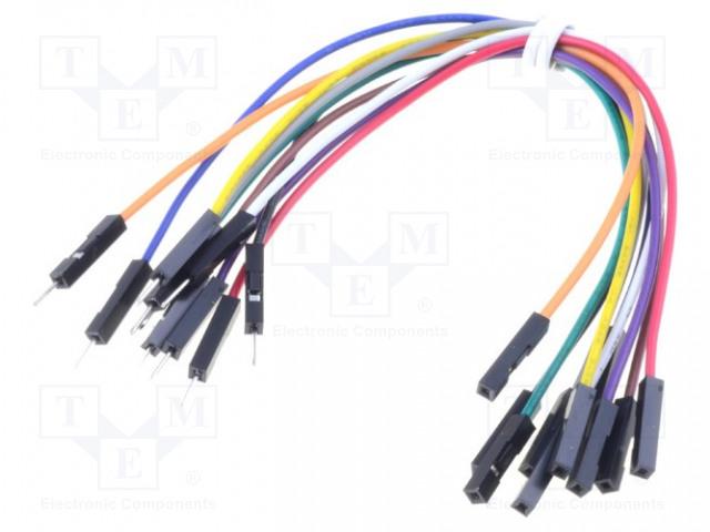 MIKROELEKTRONIKA WIRE JUMPER MALE TO FEMALE 10PCS - Propojovací kabel