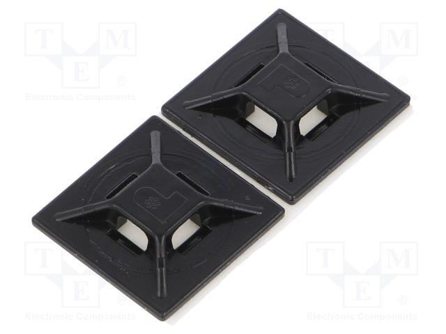Кабельные стяжки-держатели и крепления Площадка самоклеящаяся; ABS; черный; Шир.стяжки: 2,5÷4,8мм Фото 1.