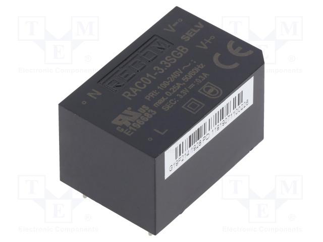 RECOM RAC01-3.3SGB - Converter: AC/DC
