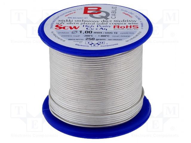 BQ CABLE SCW-1.00/250 - Srebrzony drut miedziany