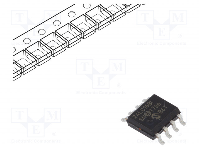 MICROCHIP TECHNOLOGY 24LC16BT-I/SN - EEPROM memory