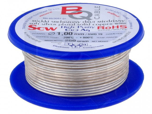 SCW-1.00/100 BQ CABLE, Silver plated copper wires