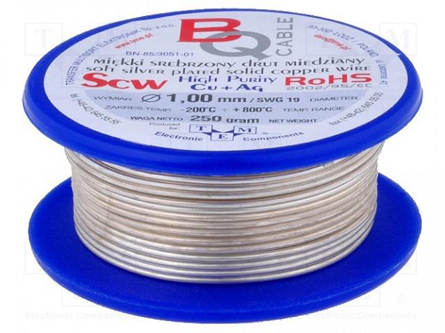 BQ CABLE SCW-1.00/100 - Srebrzony drut miedziany