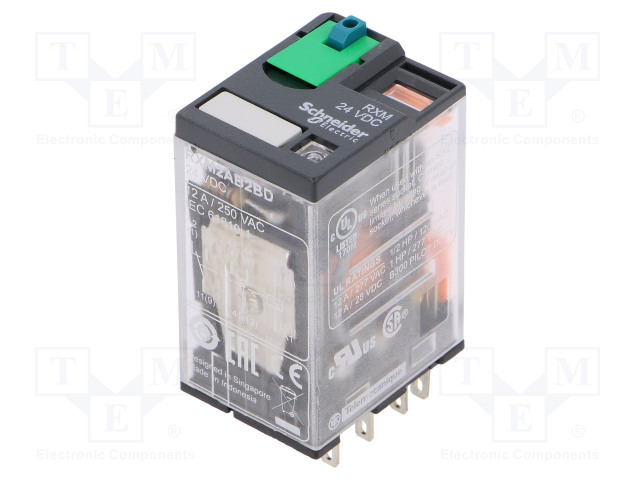 Rxm2ab2bd Schneider Electric Relay Electromagnetic Dpdt Ucoil 24vdc 12a 250vac 12a 28vdc Tme Electronic Components