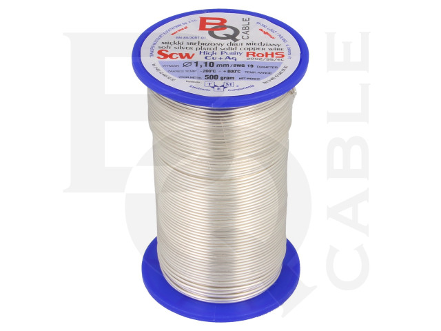 SCW-1.10/500 BQ CABLE, Silver plated copper wires