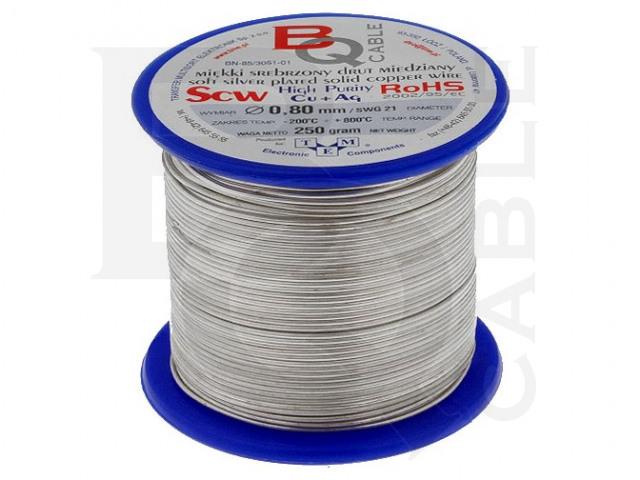 SCW-0.80/250 BQ CABLE, Postříbřený měděný drát