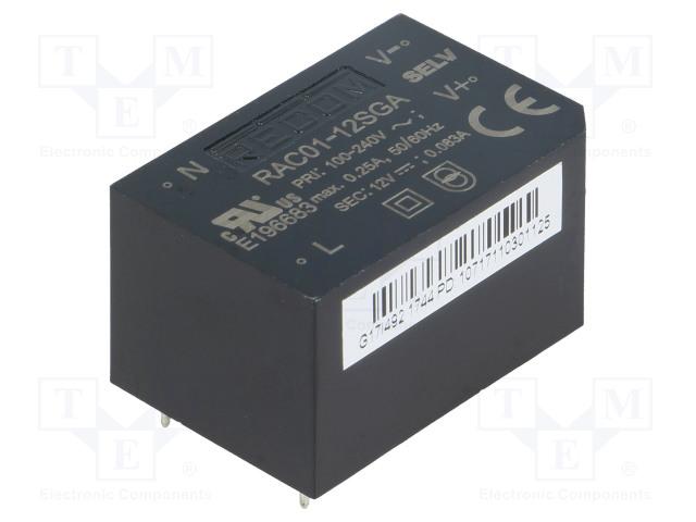 RECOM RAC01-12SGA - Converter: AC/DC