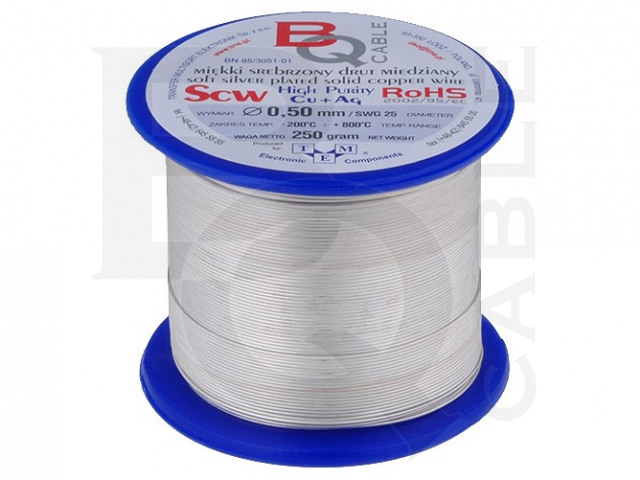 SCW-0.50/250 BQ CABLE, Silver plated copper wires