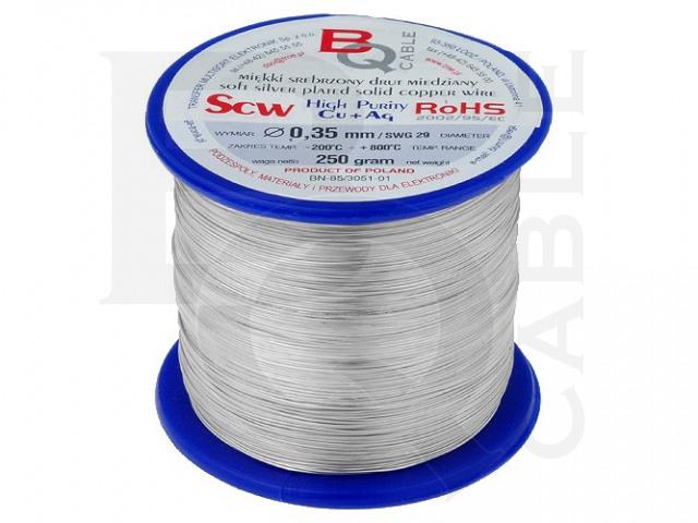 SCW-0.35/250 BQ CABLE, Postříbřený měděný drát