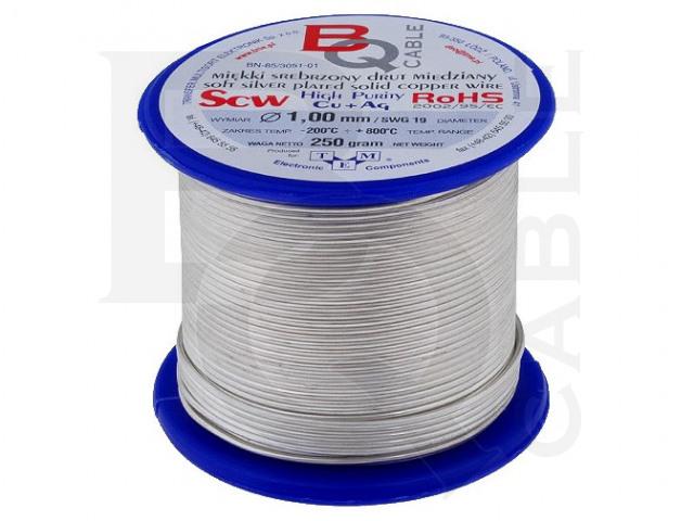 SCW-1.00/250 BQ CABLE, Verzilverde koperdraad