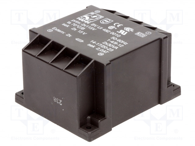HAHN BV UI 482 0010 - Transformátor: zalévaný
