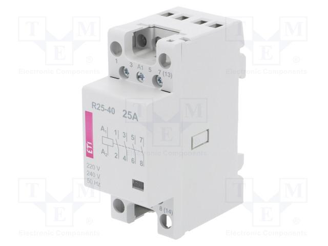 ETI POLAM R 25-40 230V - Stykač: 4-pólový instalační