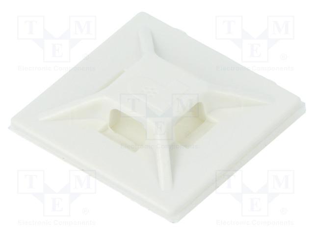 Кабельные стяжки-держатели и крепления Площадка самоклеящаяся; ABS; белый; Шир.стяжки: 2,5÷3,7мм Фото 1.