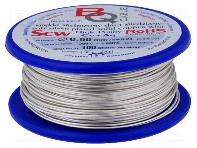 BQ CABLE SCW-0.60/100 - Srebrzony drut miedziany