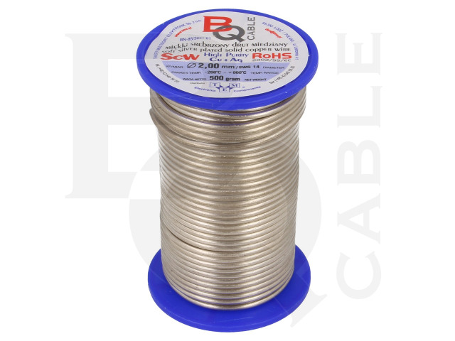 SCW-2.00/500 BQ CABLE, Silver plated copper wires