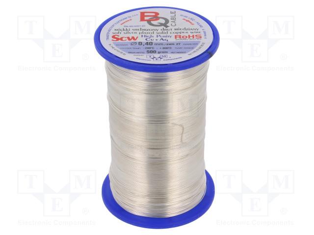 BQ CABLE SCW-0.40/500 - Srebrzony drut miedziany