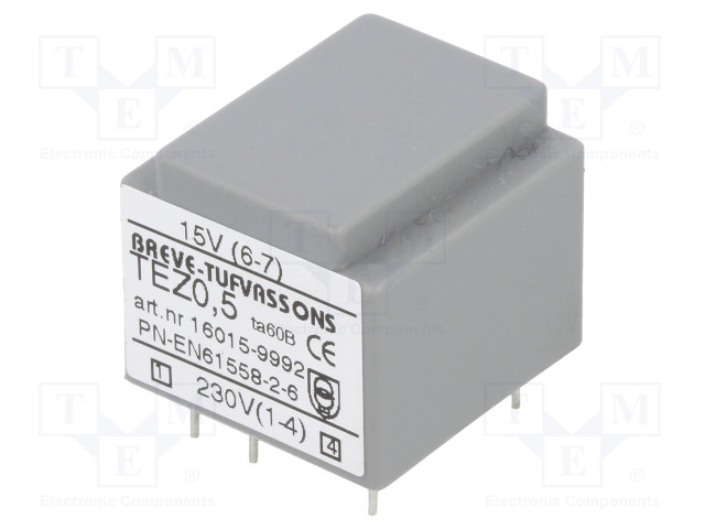 BREVE TUFVASSONS TEZ0.5/D230/15V - Transformer: encapsulated