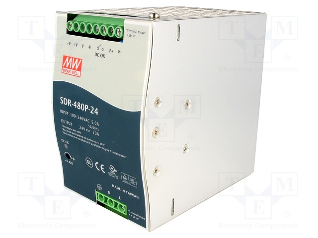 MEAN WELL SDR-480P-24 - Power supply: switched-mode