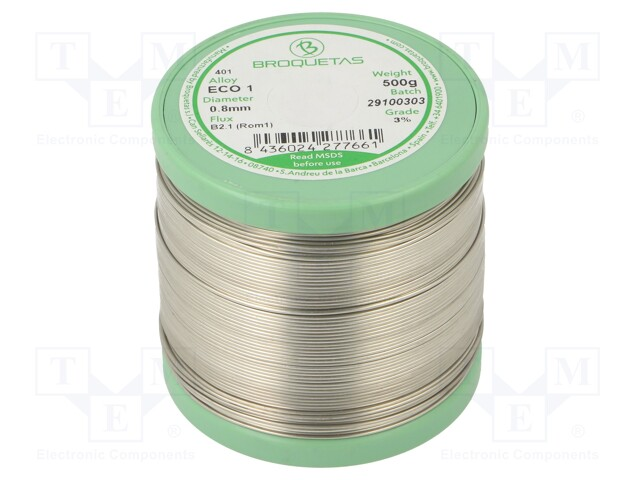 BROQUETAS ECO 1 (SNCU1) FLUX B2.1 0,8 MM 500G - Soldering wire